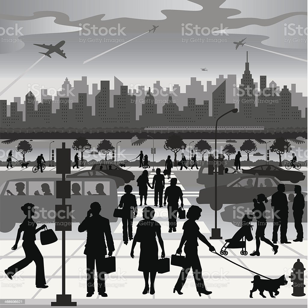 City People on the Move vector art illustration
