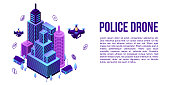 City police drone concept banner. Isometric illustration of city police drone vector concept banner for web design