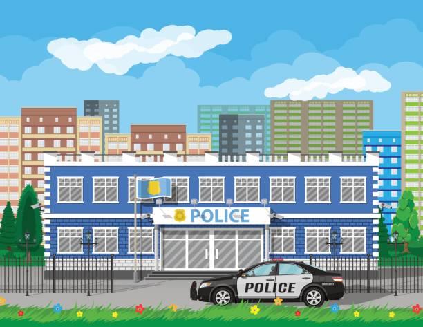 illustrations, cliparts, dessins animés et icônes de studiofor de poste de police de ville, voiture, arbre, paysage urbain - commissariat