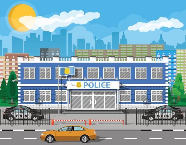 illustrations, cliparts, dessins animés et icônes de studiofor de poste de police de ville, voiture, arbre, paysage urbain - bureau police