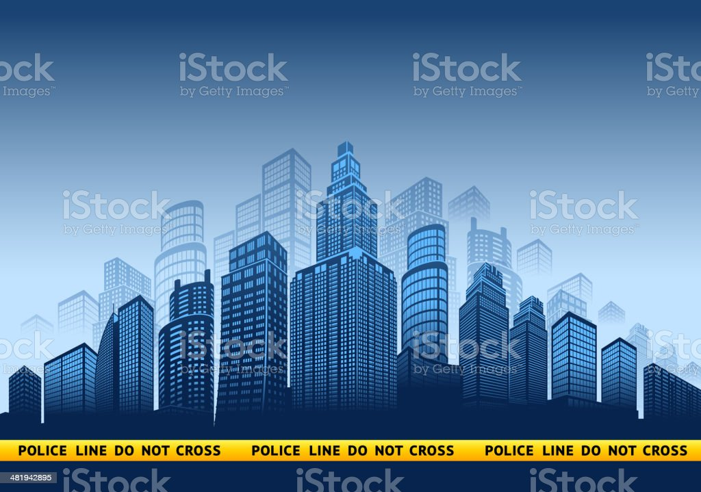 City Police Tape with skyline panoramic royalty-free stock vector art