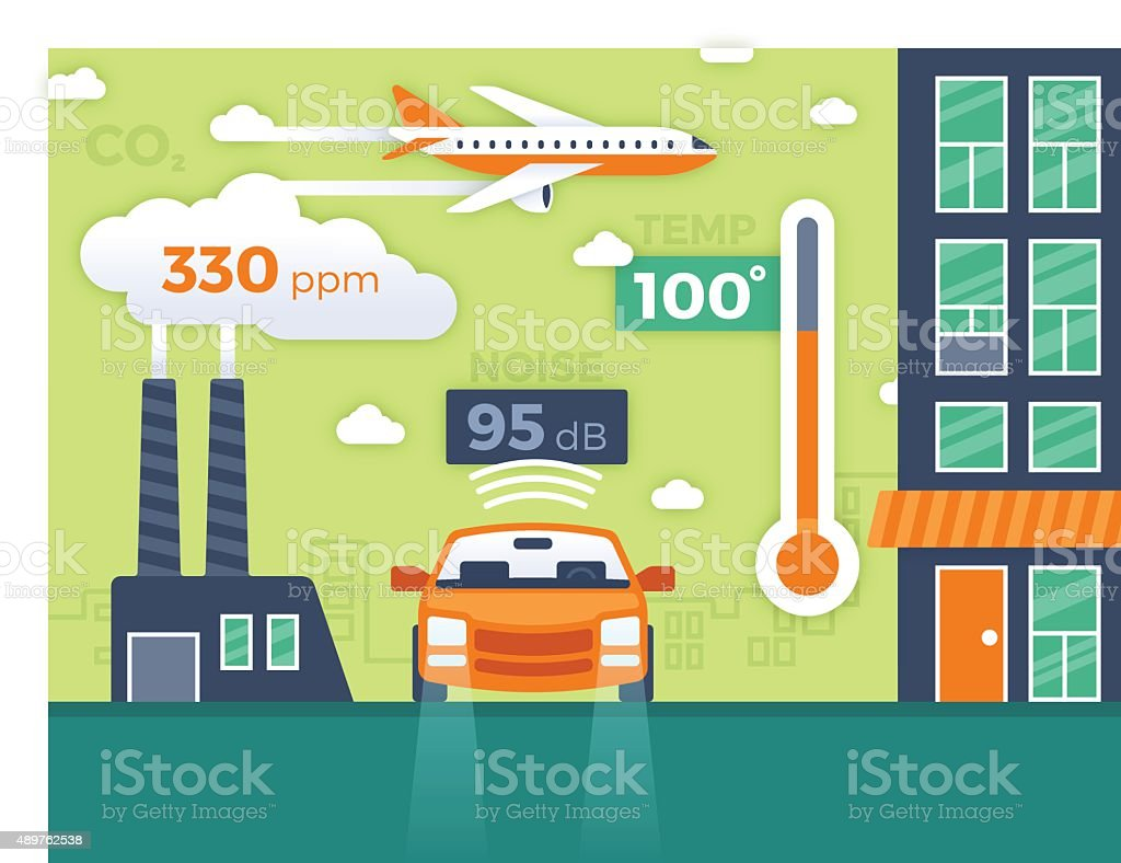 City Pollution and Environmental Data Infographic vector art illustration