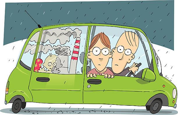 City pollution vector art illustration