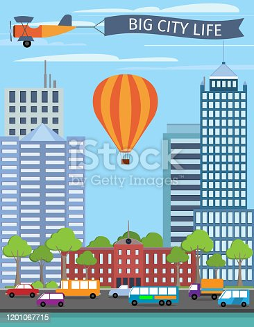 Modern urban building big city life poster with balloon vector illustration
