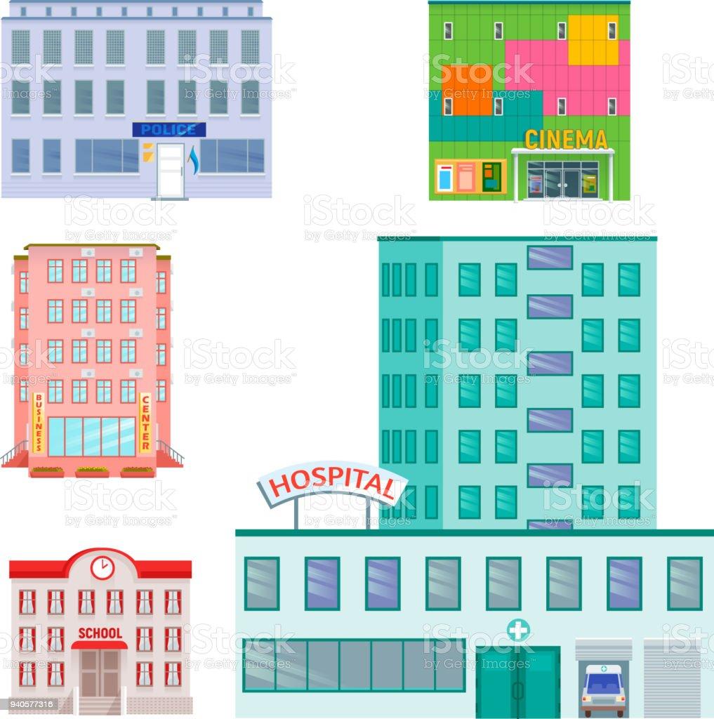Attrayant Les Bâtiments Publics De Ville Maisons Design Plat Bureau Architecture  Moderne Appartement Rue Vector Illustration Les