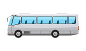 City public bus with flat and solid color style design. Transparent window glasses. High detailed vector illustration.