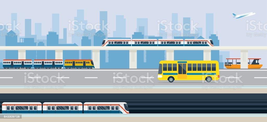 Stadt, öffentlicher Verkehr und Transit – Vektorgrafik