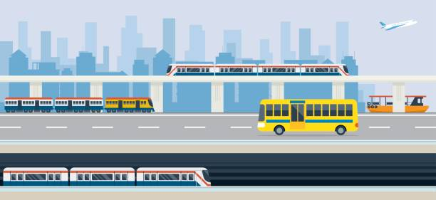 Ville, les transports en commun et transport en commun - Illustration vectorielle
