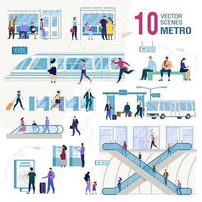 City Public Transport Flat Vector Concepts Set