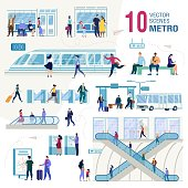 Metropolis Public Transport System Infrastructure, City Subway Trendy Flat Vectors Set. Metro Passengers, Tourists Characters with Baggage, Waiting Train on Subway Station Illustrations Collection