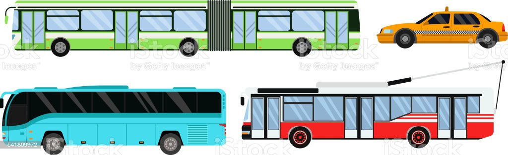 City public transport set vector illustration. vector art illustration