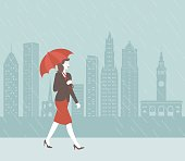A retro-style scene of a woman with an umbrella walking in the rain in front of a city skyline.