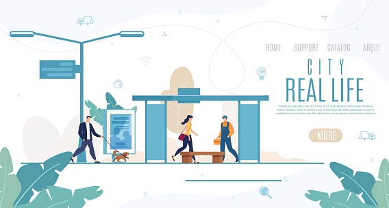 City Real Life Flat Vector Website Template