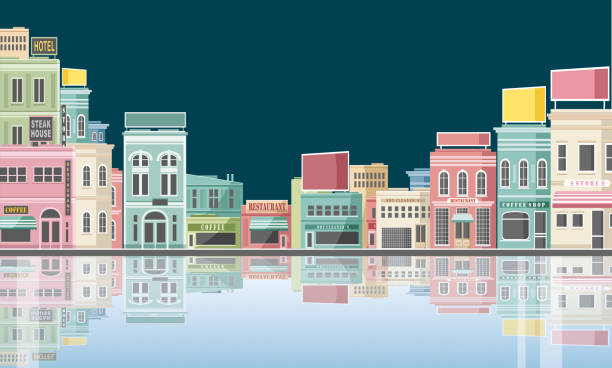 도시 반사 - 시장 소매점 stock illustrations