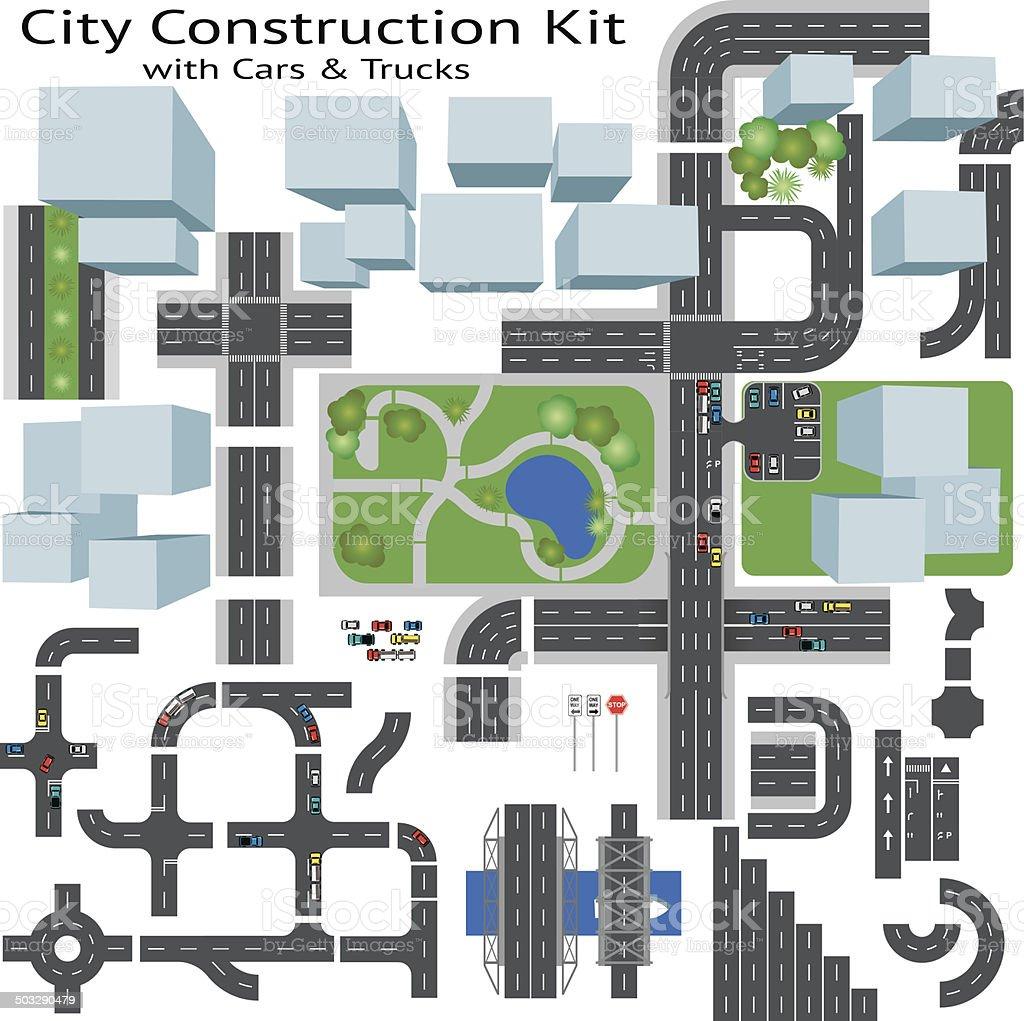 City Road Maker Construction Kit vector art illustration