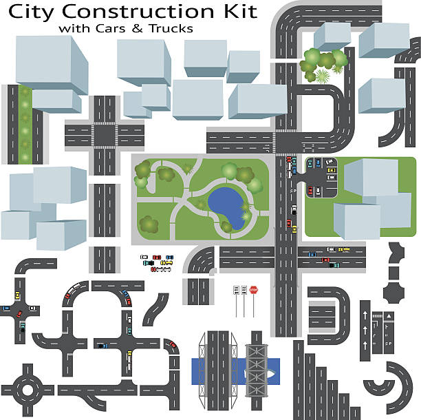 City Road Maker Construction Kit Build your own city, grouped and layered, see my portfolio for other kits overhead stock illustrations