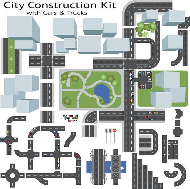 ilustraciones, imágenes clip art, dibujos animados e iconos de stock de city road, cafetera kit de construcción - overhead