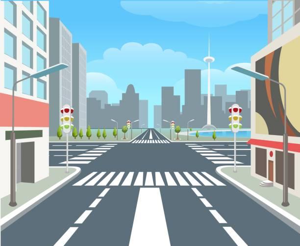 illustrazioni stock, clip art, cartoni animati e icone di tendenza di city road, urban street - city walking background