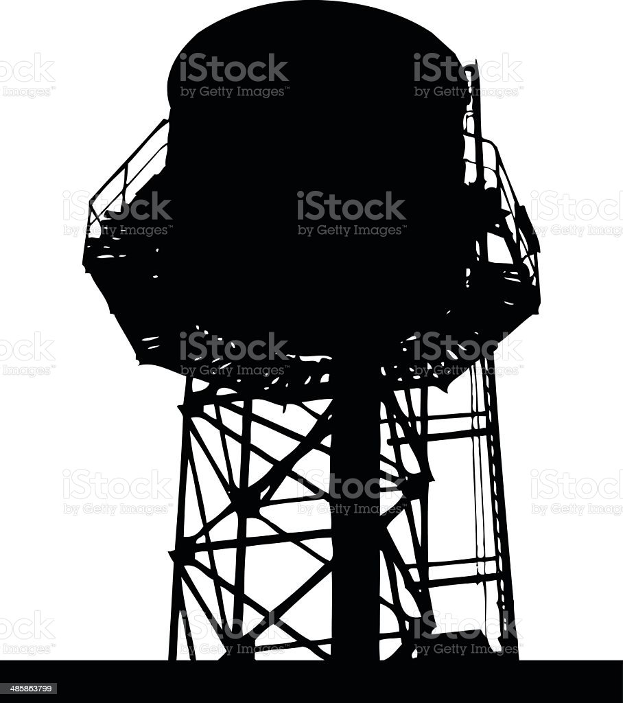 City Rooftop Water Tank Silhouette Vector vector art illustration
