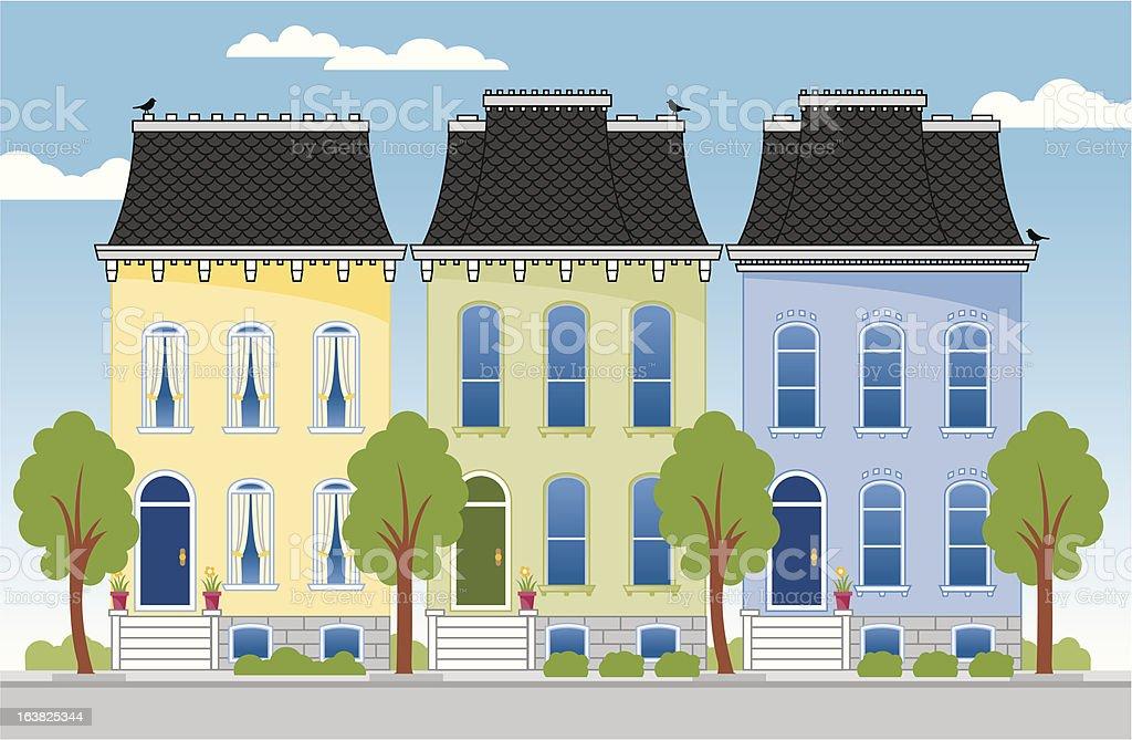 City Row Houses royalty-free stock vector art