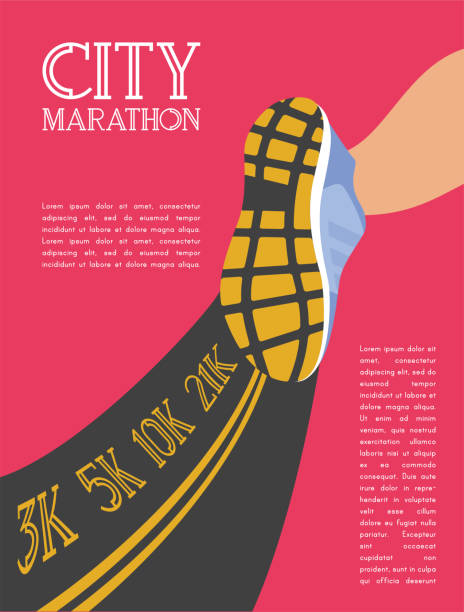 city running marathon. athlete runner feet running on road closeup. illustration vector - finish line stock illustrations, clip art, cartoons, & icons