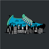 City running marathon poster with shoe. Sport poster with vector illustration. Sneaker for jogging with city inside.