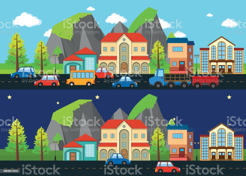 City scene at night and day time royalty-free city scene at night and day time stock vector art & more images of apartment