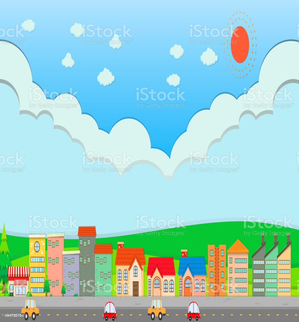 City scene  daytime vector art illustration