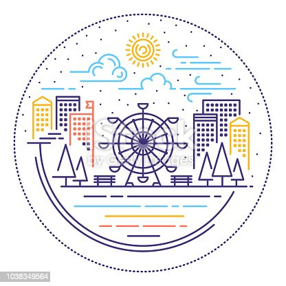 Line vector illustrations of city scene location.