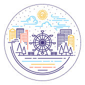 Line vector illustrations of city scene location.