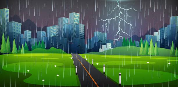 ilustraciones, imágenes clip art, dibujos animados e iconos de stock de escena de la ciudad en noche de tormenta - storm