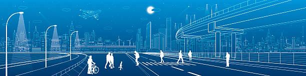 illustrazioni stock, clip art, cartoni animati e icone di tendenza di city scene, people walk on the street, skyline, urban panorama - city walking background