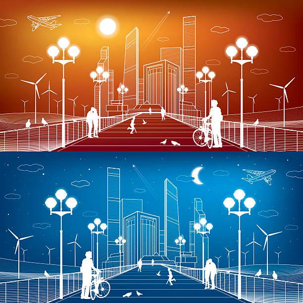 bildbanksillustrationer, clip art samt tecknat material och ikoner med city scene. street lights. business center, skyscrapers and towers. infrastructure - walking home sunset street