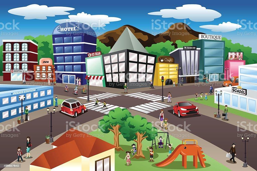 City Scene vector art illustration