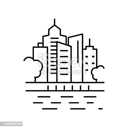 City sea urban landscape line icon. Element of landscapes icon on white background