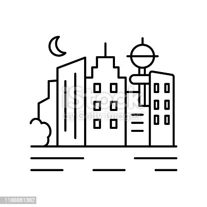 City sea urban landscape line icon. Element of landscapes icon on white background
