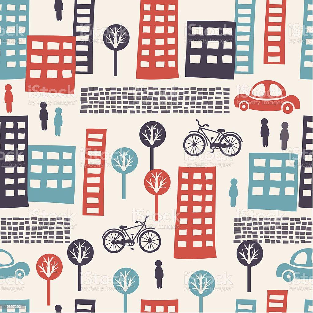 City seamless pattern royalty-free stock vector art