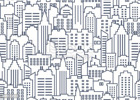 City scape seamless pattern. Thin line City background. Downtown landscape with high skyscrapers. Panorama architecture City landscape wallpaper. Goverment buildings outline illustration. Urban life. Vector illustration