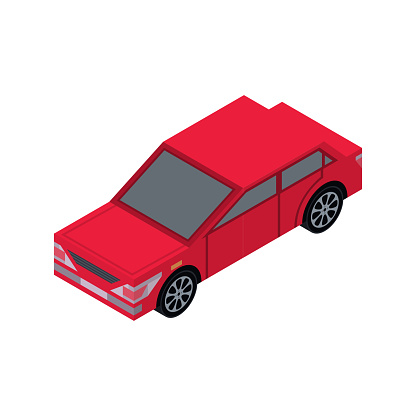 City Sedan Isometric 3d Element Stock Illustration - Download Image Now