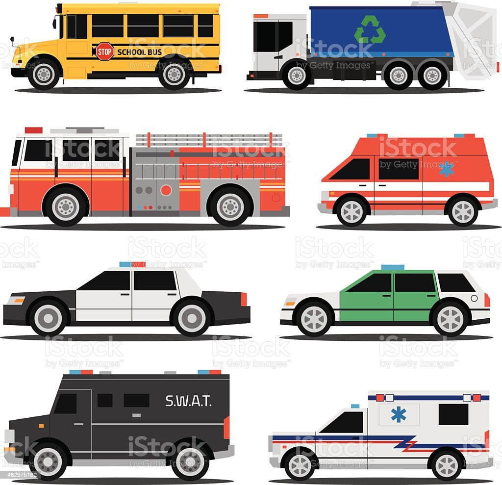 City service cars vector art illustration