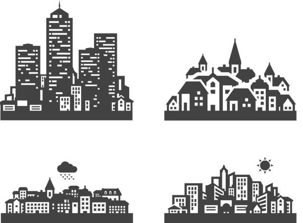 city set black icons. signs and symbols - köy stock illustrations