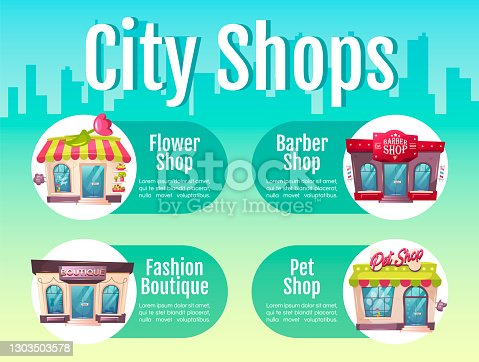 City shop flat color vector informational infographic template. Barber salon. Poster, booklet, PPT page concept design with cartoon characters. Advertising flyer, leaflet, info banner idea