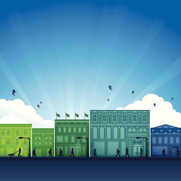 illustrazioni stock, clip art, cartoni animati e icone di tendenza di quartiere dello shopping della città - city walking background