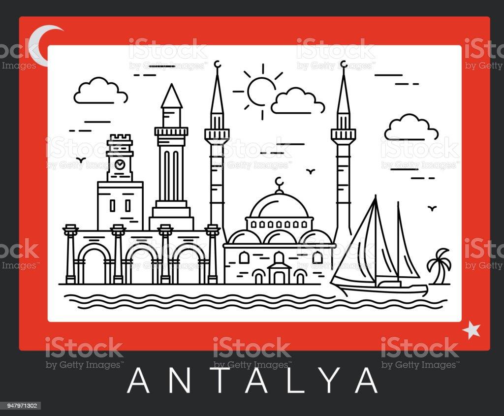 Şehir manzaraları Antalya, Türkiye vektör sanat illüstrasyonu