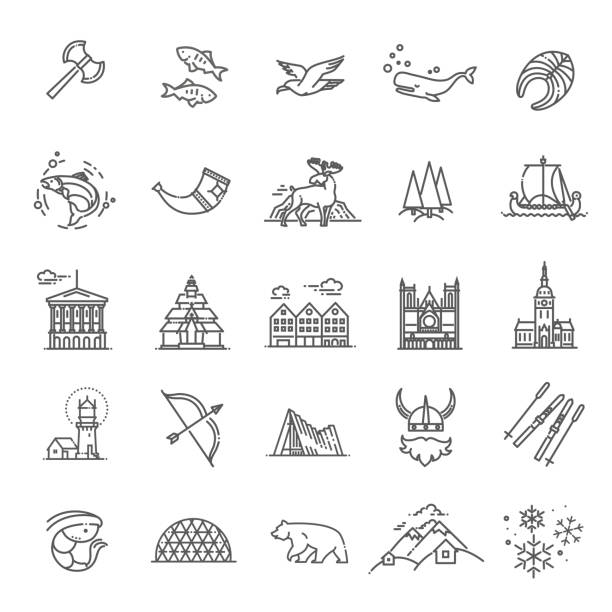 City sights vector icons. Norway landmark. Flat travel elements. Alesund, Bergen and Oslo or Norwegian tourist famous culture attraction vector icons norway stock illustrations