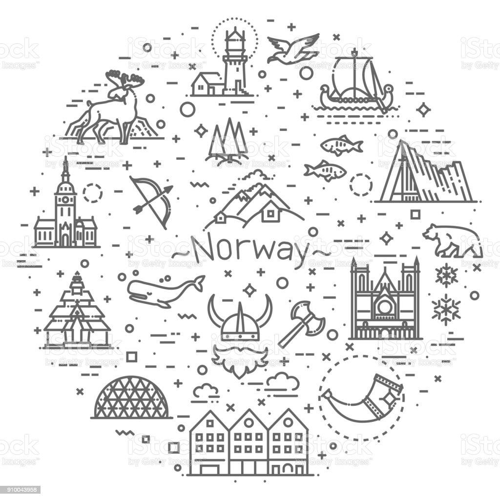 City sights vector icons. Norway landmark. vector art illustration