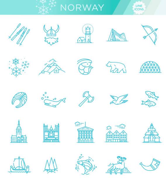 illustrazioni stock, clip art, cartoni animati e icone di tendenza di city sights vector icons. norway landmark. - fiordi