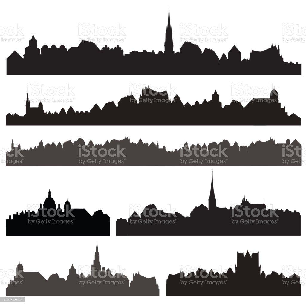 City silhouett set. European cityscape. Skyline set. Buildings silhouette collection. vector art illustration