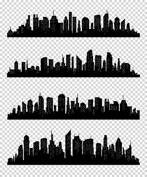 transparrent 바탕에 블랙 색상으로 시 실루엣 컬렉션 - 도시 실루엣 stock illustrations