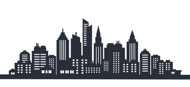 도시 실루엣 땅 풍경 도시 풍경입니다. 높은 마천루와 시내 풍경입니다. 파노라마 아키텍처 정부 건물 그림입니다. 도시 생활 - 도시 실루엣 stock illustrations